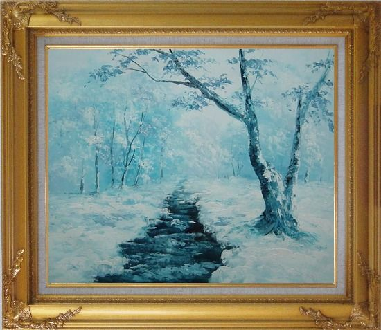 Framed Ground Frozen in Winter Falling White Snow Oil Painting Landscape River Naturalism Gold Wood Frame with Deco Corners 27 x 31 Inches
