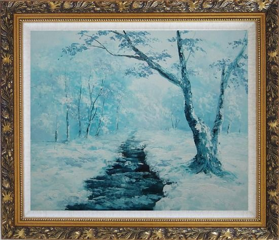 Framed Ground Frozen in Winter Falling White Snow Oil Painting Landscape River Naturalism Ornate Antique Dark Gold Wood Frame 26 x 30 Inches