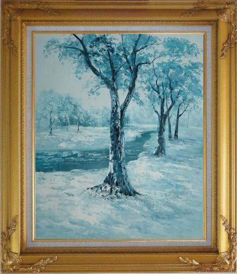 Framed River Passing by Snow Covered Field Oil Painting Landscape Winter Naturalism Gold Wood Frame with Deco Corners 31 x 27 Inches