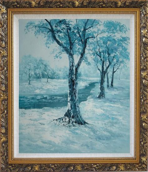Framed River Passing by Snow Covered Field Oil Painting Landscape Winter Naturalism Ornate Antique Dark Gold Wood Frame 30 x 26 Inches