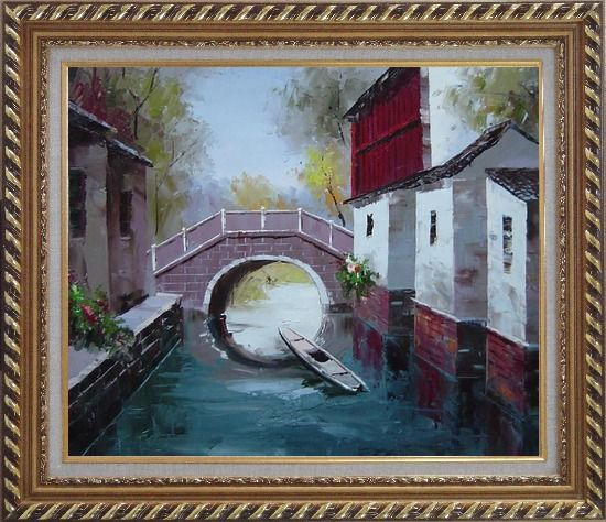 Framed Boat Sitting Idle Under Bridge at Water Village Oil Painting China Naturalism Exquisite Gold Wood Frame 26 x 30 Inches