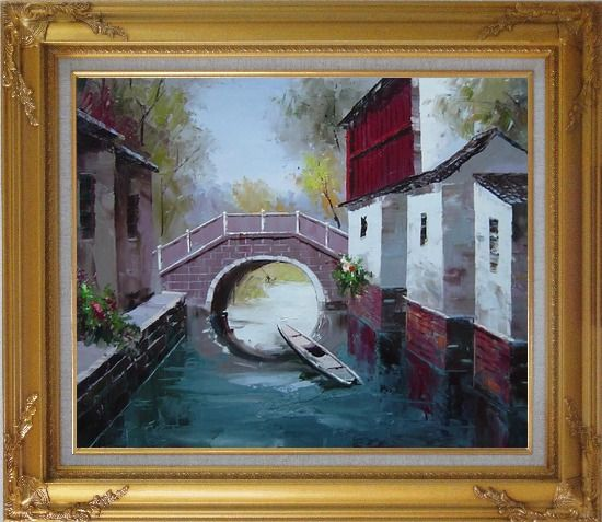 Framed Boat Sitting Idle Under Bridge at Water Village Oil Painting China Naturalism Gold Wood Frame with Deco Corners 27 x 31 Inches