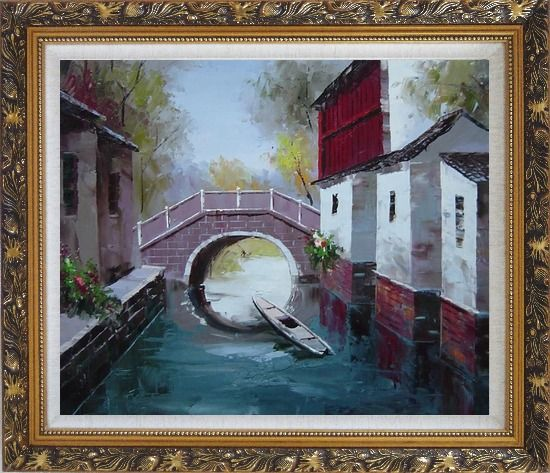 Framed Boat Sitting Idle Under Bridge at Water Village Oil Painting China Naturalism Ornate Antique Dark Gold Wood Frame 26 x 30 Inches