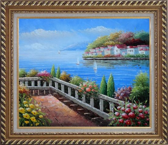Framed European Flower Villa Oil Painting Mediterranean Naturalism Exquisite Gold Wood Frame 26 x 30 Inches