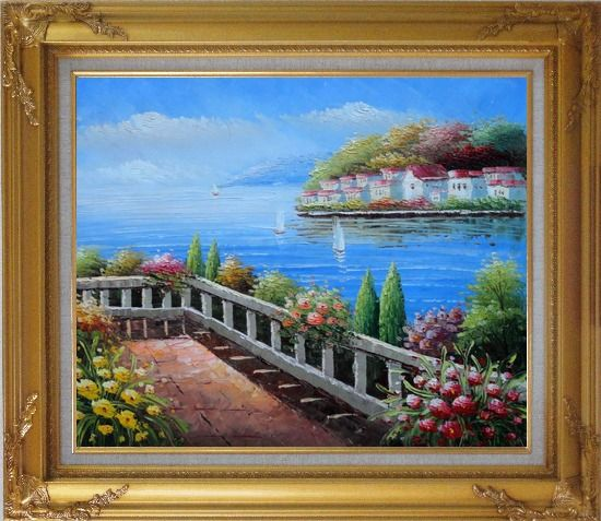 Framed European Flower Villa Oil Painting Mediterranean Naturalism Gold Wood Frame with Deco Corners 27 x 31 Inches