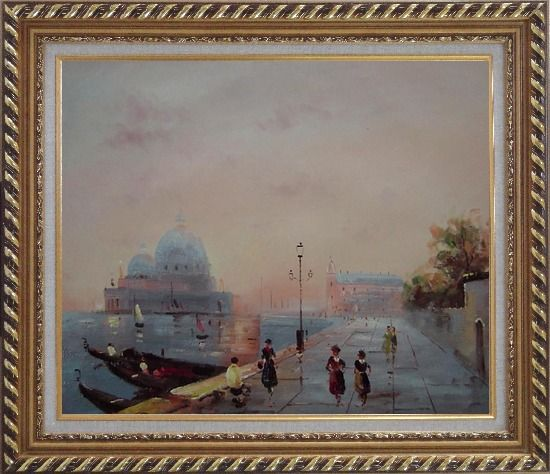 Framed St. Mark's Square, Venice Oil Painting Italy Impressionism Exquisite Gold Wood Frame 26 x 30 Inches