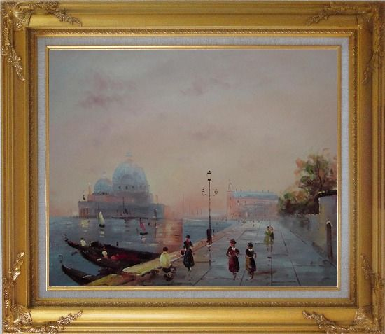 Framed St. Mark's Square, Venice Oil Painting Italy Impressionism Gold Wood Frame with Deco Corners 27 x 31 Inches