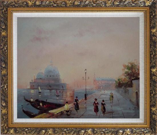 Framed St. Mark's Square, Venice Oil Painting Italy Impressionism Ornate Antique Dark Gold Wood Frame 26 x 30 Inches