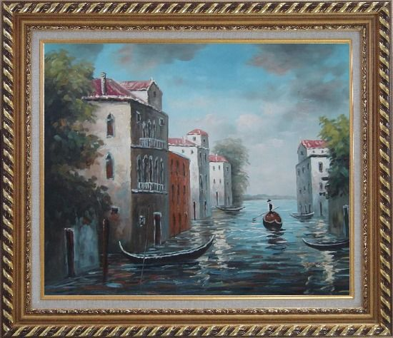 Framed Venice in Impression Oil Painting Italy Naturalism Exquisite Gold Wood Frame 26 x 30 Inches