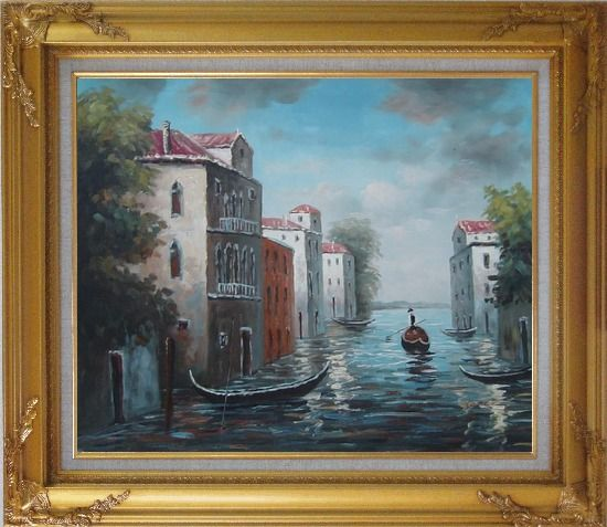 Framed Venice in Impression Oil Painting Italy Naturalism Gold Wood Frame with Deco Corners 27 x 31 Inches