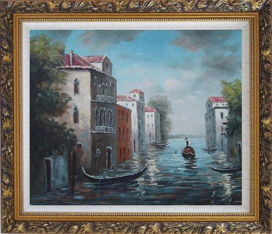 Framed Venice in Impression Oil Painting Italy Naturalism Ornate Antique Dark Gold Wood Frame 26 x 30 Inches