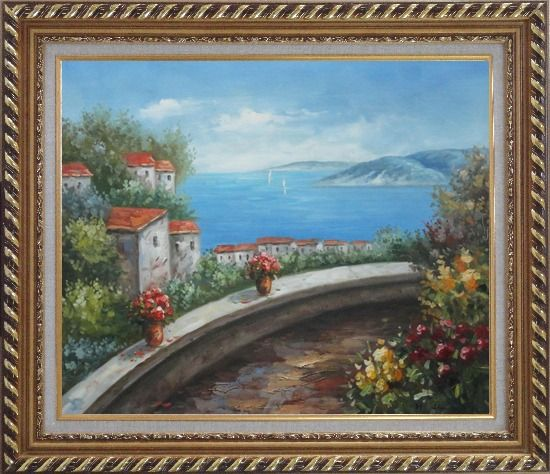 Framed Mediterranean Dream Walk Oil Painting Naturalism Exquisite Gold Wood Frame 26 x 30 Inches