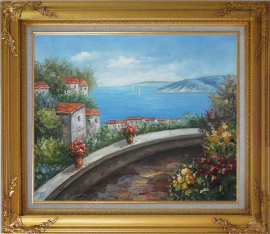 Framed Mediterranean Dream Walk Oil Painting Naturalism Gold Wood Frame with Deco Corners 27 x 31 Inches