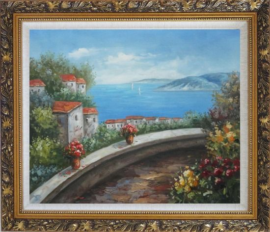 Framed Mediterranean Dream Walk Oil Painting Naturalism Ornate Antique Dark Gold Wood Frame 26 x 30 Inches
