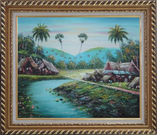 Framed Pond Side Small Huts Oil Painting Village Naturalism Exquisite Gold Wood Frame 26 x 30 Inches