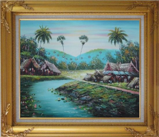 Framed Pond Side Small Huts Oil Painting Village Naturalism Gold Wood Frame with Deco Corners 27 x 31 Inches