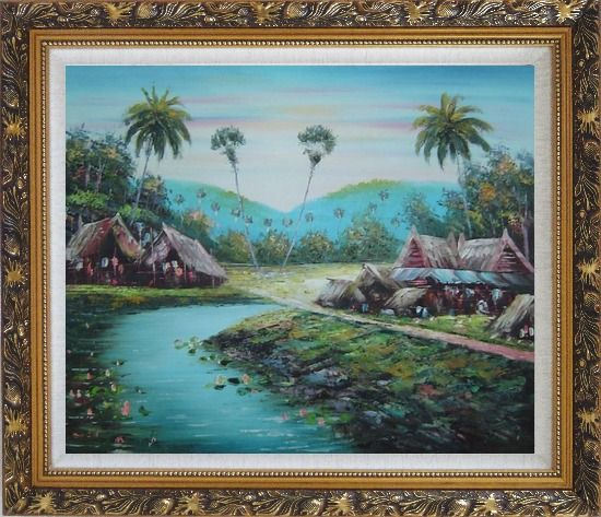 Framed Pond Side Small Huts Oil Painting Village Naturalism Ornate Antique Dark Gold Wood Frame 26 x 30 Inches
