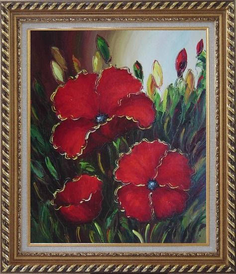 Framed Scarlet Red Flowers Oil Painting Impressionism Exquisite Gold Wood Frame 30 x 26 Inches