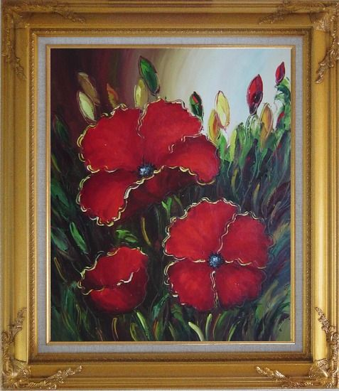 Framed Scarlet Red Flowers Oil Painting Impressionism Gold Wood Frame with Deco Corners 31 x 27 Inches