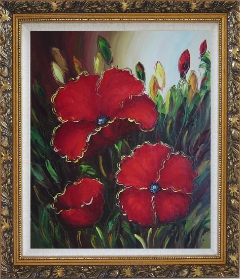 Framed Scarlet Red Flowers Oil Painting Impressionism Ornate Antique Dark Gold Wood Frame 30 x 26 Inches