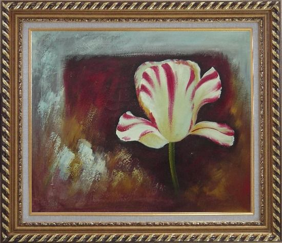 Framed White Red Striped Tulip Oil Painting Flower Decorative Exquisite Gold Wood Frame 26 x 30 Inches