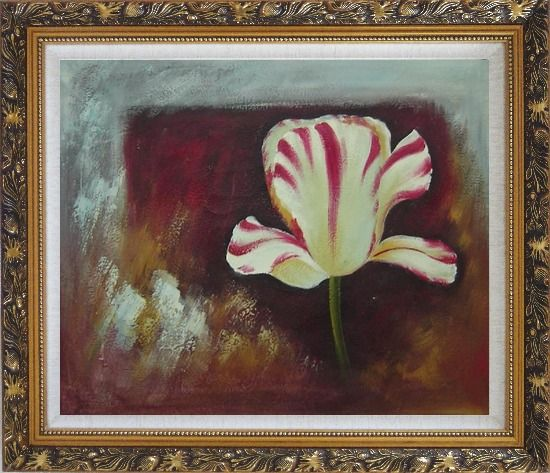Framed White Red Striped Tulip Oil Painting Flower Decorative Ornate Antique Dark Gold Wood Frame 26 x 30 Inches