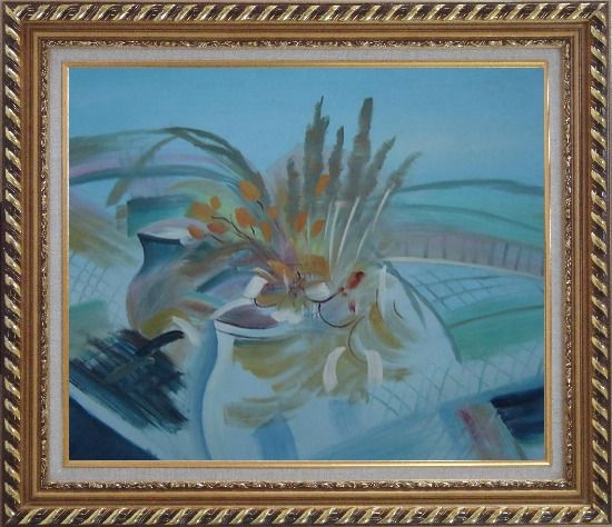 Framed Still Life Branch, Flowers in Vase Oil Painting Impressionism Exquisite Gold Wood Frame 26 x 30 Inches