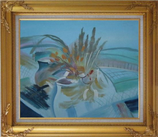 Framed Still Life Branch, Flowers in Vase Oil Painting Impressionism Gold Wood Frame with Deco Corners 27 x 31 Inches