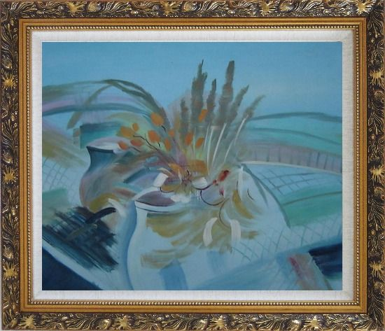Framed Still Life Branch, Flowers in Vase Oil Painting Impressionism Ornate Antique Dark Gold Wood Frame 26 x 30 Inches