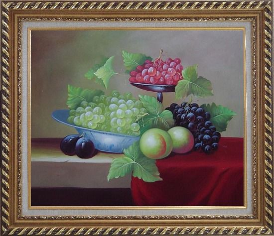 Framed Still Life With Peaches And Grapes Oil Painting Fruit Classic Exquisite Gold Wood Frame 26 x 30 Inches