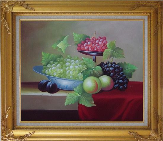 Framed Still Life With Peaches And Grapes Oil Painting Fruit Classic Gold Wood Frame with Deco Corners 27 x 31 Inches