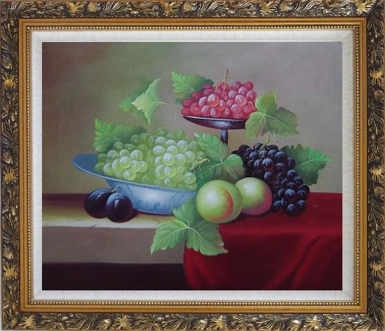 Framed Still Life With Peaches And Grapes Oil Painting Fruit Classic Ornate Antique Dark Gold Wood Frame 26 x 30 Inches