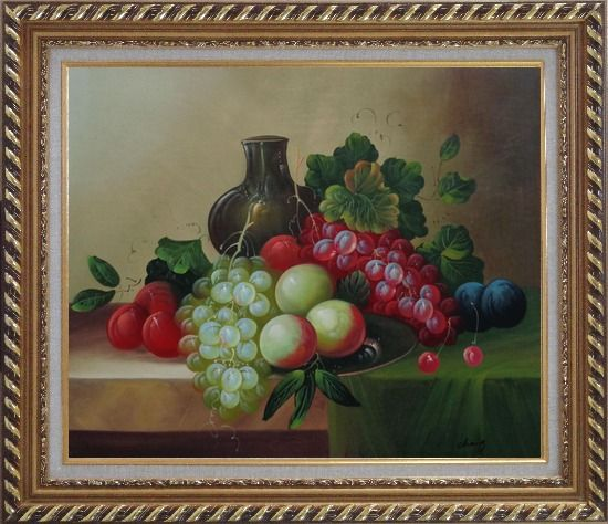 Framed Grapes, Peaches, Plums, with Black Jar in Still Life Oil Painting Fruit Wine Classic Exquisite Gold Wood Frame 26 x 30 Inches