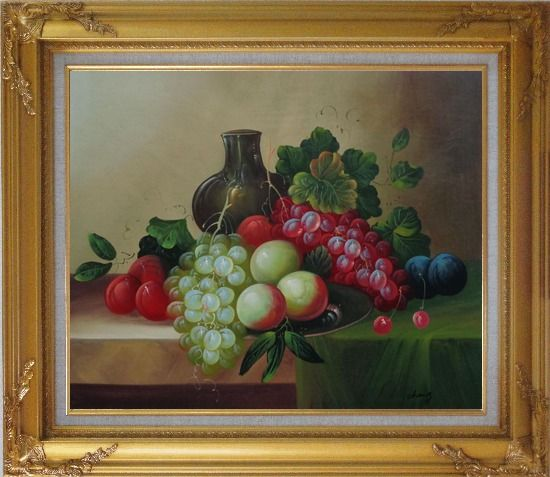 Framed Grapes, Peaches, Plums, with Black Jar in Still Life Oil Painting Fruit Wine Classic Gold Wood Frame with Deco Corners 27 x 31 Inches