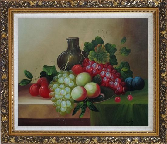 Framed Grapes, Peaches, Plums, with Black Jar in Still Life Oil Painting Fruit Wine Classic Ornate Antique Dark Gold Wood Frame 26 x 30 Inches