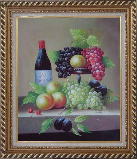 Framed Still Life with Wine Bottle, Grapes, Peaches and Plums Oil Painting Fruit Classic Exquisite Gold Wood Frame 30 x 26 Inches