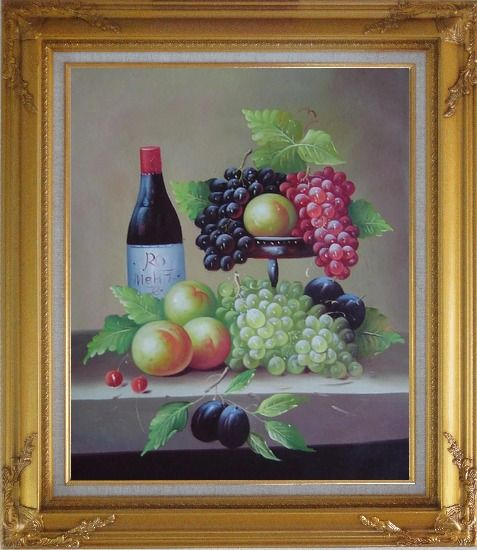 Framed Still Life with Wine Bottle, Grapes, Peaches and Plums Oil Painting Fruit Classic Gold Wood Frame with Deco Corners 31 x 27 Inches