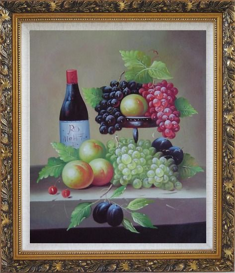 Framed Still Life with Wine Bottle, Grapes, Peaches and Plums Oil Painting Fruit Classic Ornate Antique Dark Gold Wood Frame 30 x 26 Inches