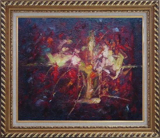 Framed Modern Flower in a Strong Red Background Oil Painting Nonobjective Exquisite Gold Wood Frame 26 x 30 Inches