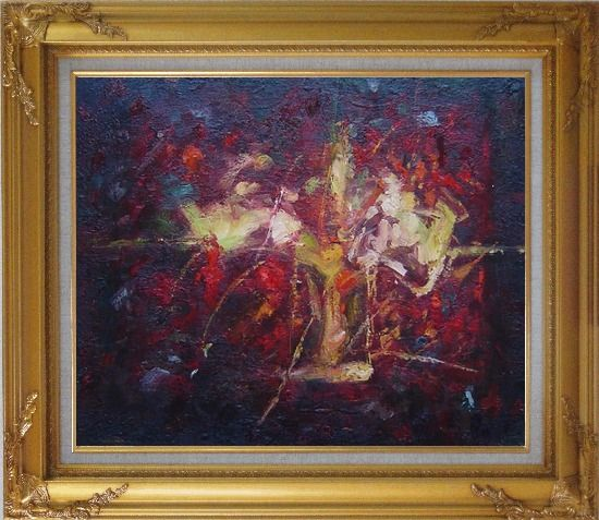 Framed Modern Flower in a Strong Red Background Oil Painting Nonobjective Gold Wood Frame with Deco Corners 27 x 31 Inches