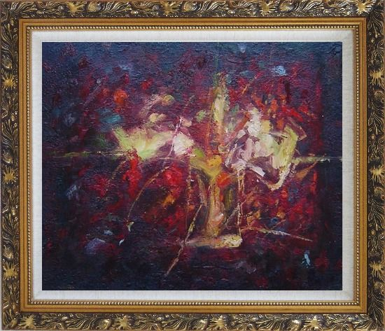 Framed Modern Flower in a Strong Red Background Oil Painting Nonobjective Ornate Antique Dark Gold Wood Frame 26 x 30 Inches