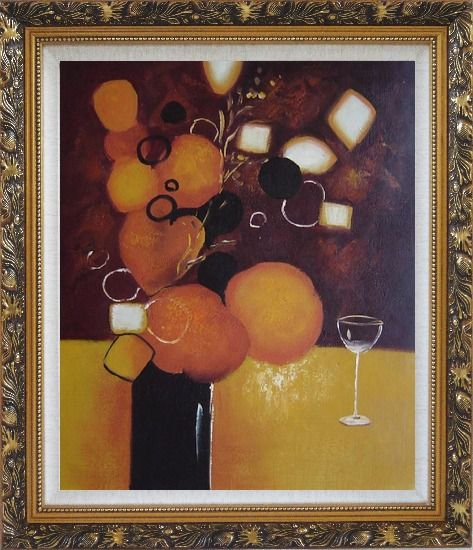Framed Still Life Pears with Glass Oil Painting Fruit Decorative Ornate Antique Dark Gold Wood Frame 30 x 26 Inches