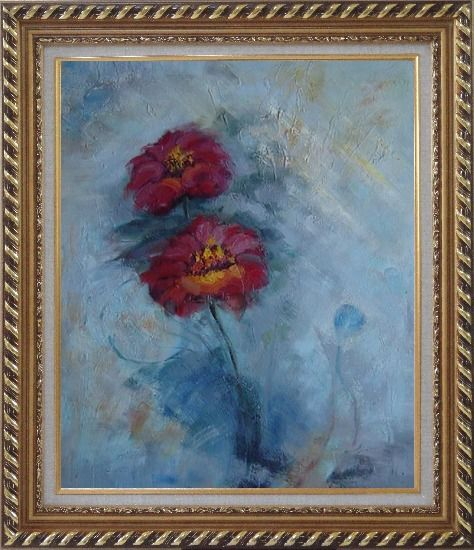 Framed Two Red Flowers in a Light Blue Background Oil Painting Modern Exquisite Gold Wood Frame 30 x 26 Inches