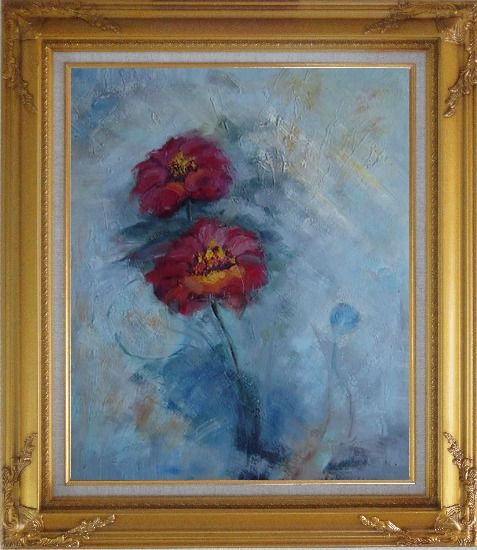 Framed Two Red Flowers in a Light Blue Background Oil Painting Modern Gold Wood Frame with Deco Corners 31 x 27 Inches