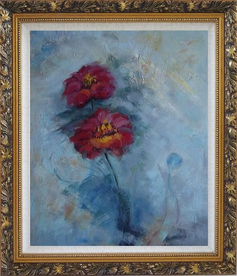 Framed Two Red Flowers in a Light Blue Background Oil Painting Modern Ornate Antique Dark Gold Wood Frame 30 x 26 Inches