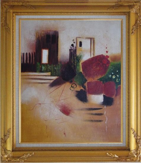Framed Objects in Front of Wall with Doors Oil Painting Cityscape Decorative Gold Wood Frame with Deco Corners 31 x 27 Inches