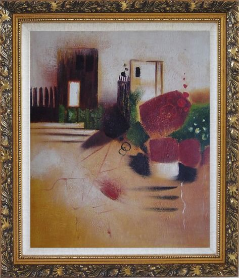 Framed Objects in Front of Wall with Doors Oil Painting Cityscape Decorative Ornate Antique Dark Gold Wood Frame 30 x 26 Inches
