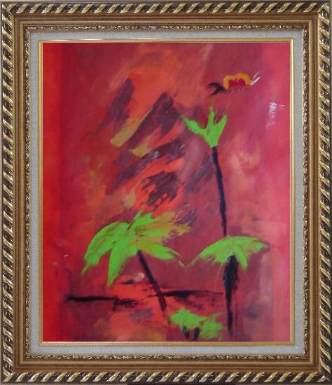 Framed Green in Red Oil Painting Flower Decorative Exquisite Gold Wood Frame 30 x 26 Inches