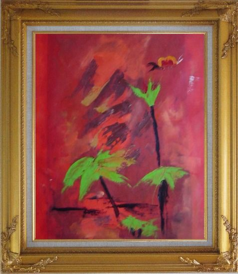 Framed Green in Red Oil Painting Flower Decorative Gold Wood Frame with Deco Corners 31 x 27 Inches