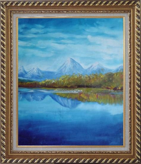 Framed Reflections of Snow Mountains and Yellow Trees on Lake Oil Painting Landscape River Impressionism Exquisite Gold Wood Frame 30 x 26 Inches